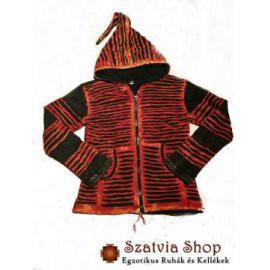 Csíkozott poláros kabát Nepálból- piros