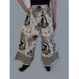 Thai hegyi nadrág-szoknya- fehér,halas mintás