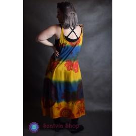 Mandala-virágos, nyári ruha- sárga alapon
