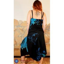 Pántos, nyári ruha, buggyos- fekete,kék