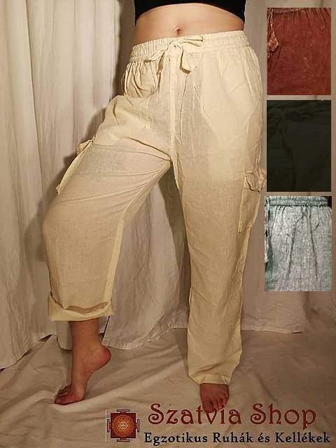 Len vászon gumis nadrág (unisex)