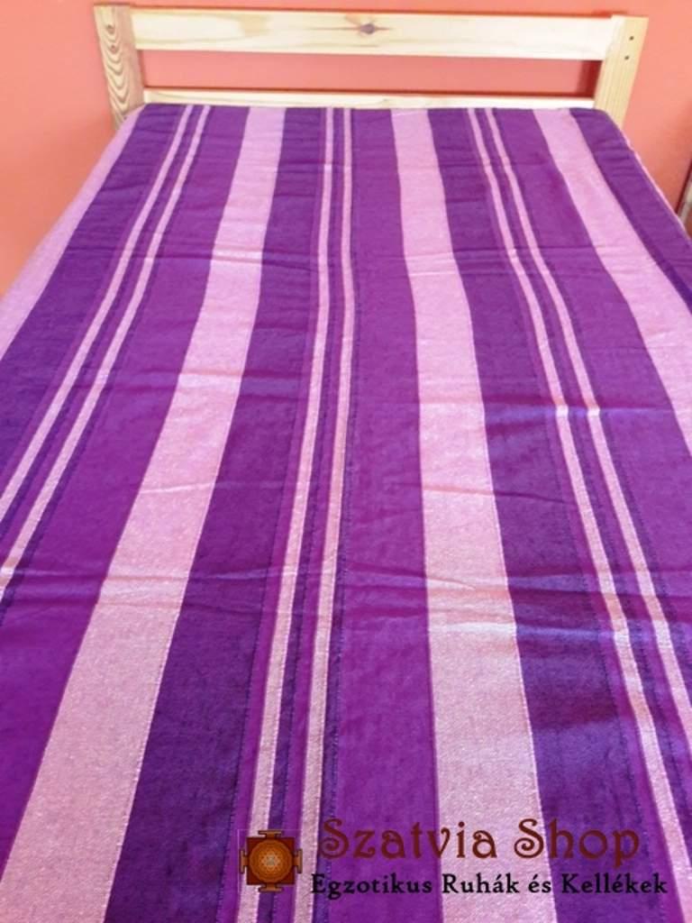 Indiai ágyterítő, csíkos kerala, lila (simpla)
