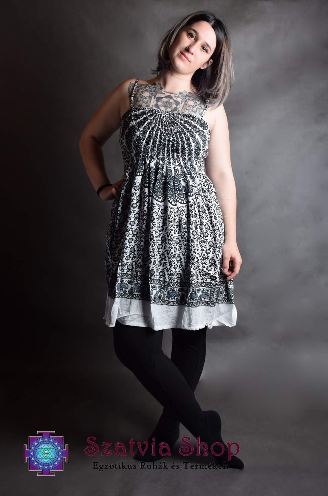 Mandala mintás, gumírozott ruha-fekete,fehér
