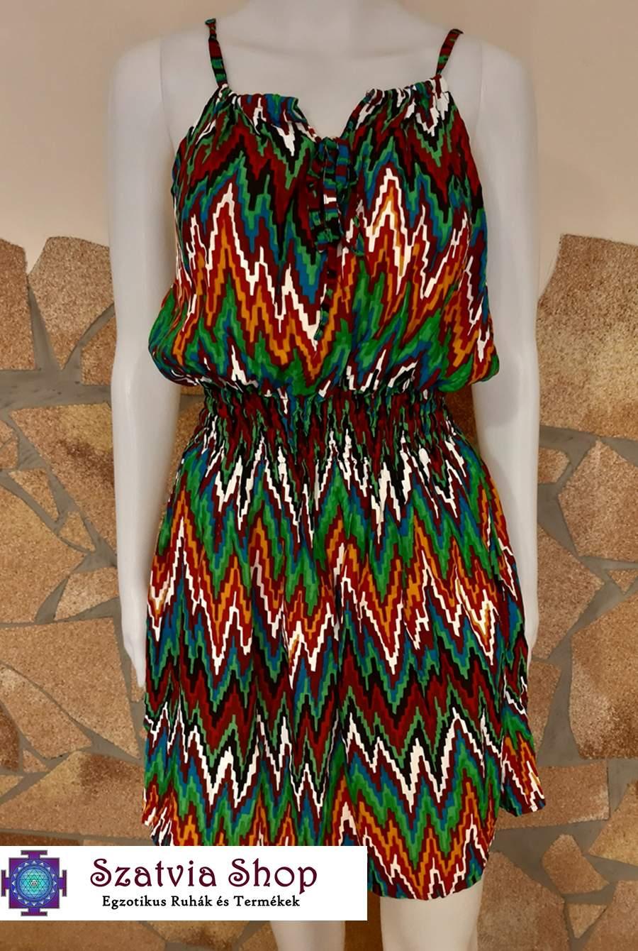 Spagetti pántos, -cikk-cakk mintás, nyári ruha