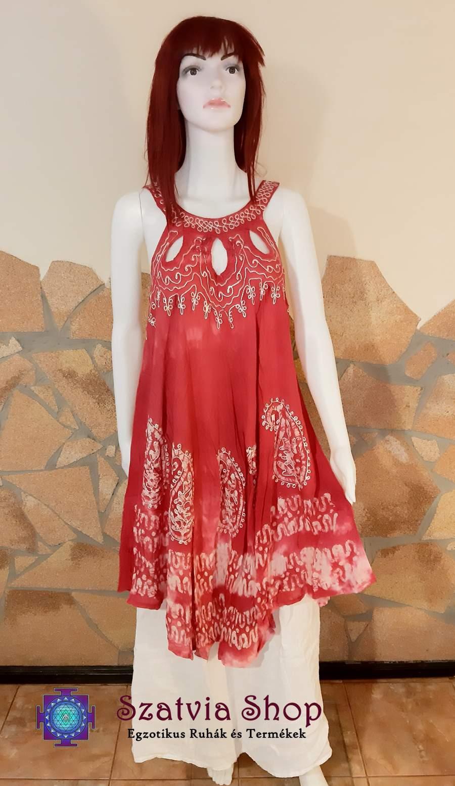Indiai batikolt, pántos nyári ruha-rózsaszín