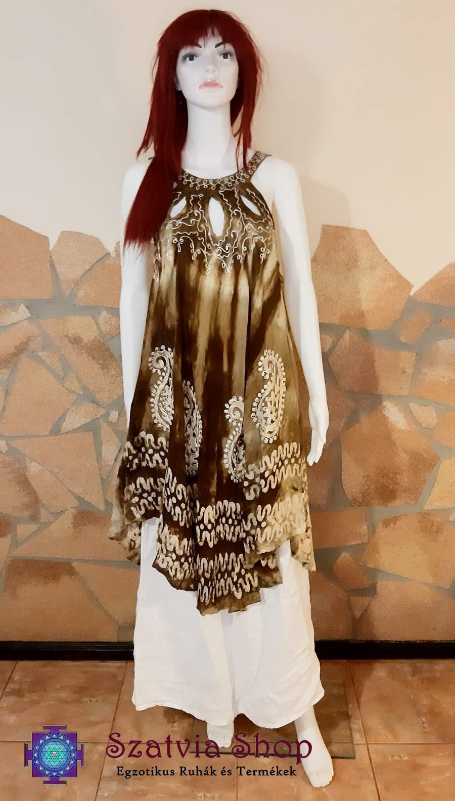 Indiai batikolt, pántos nyári ruha-barna