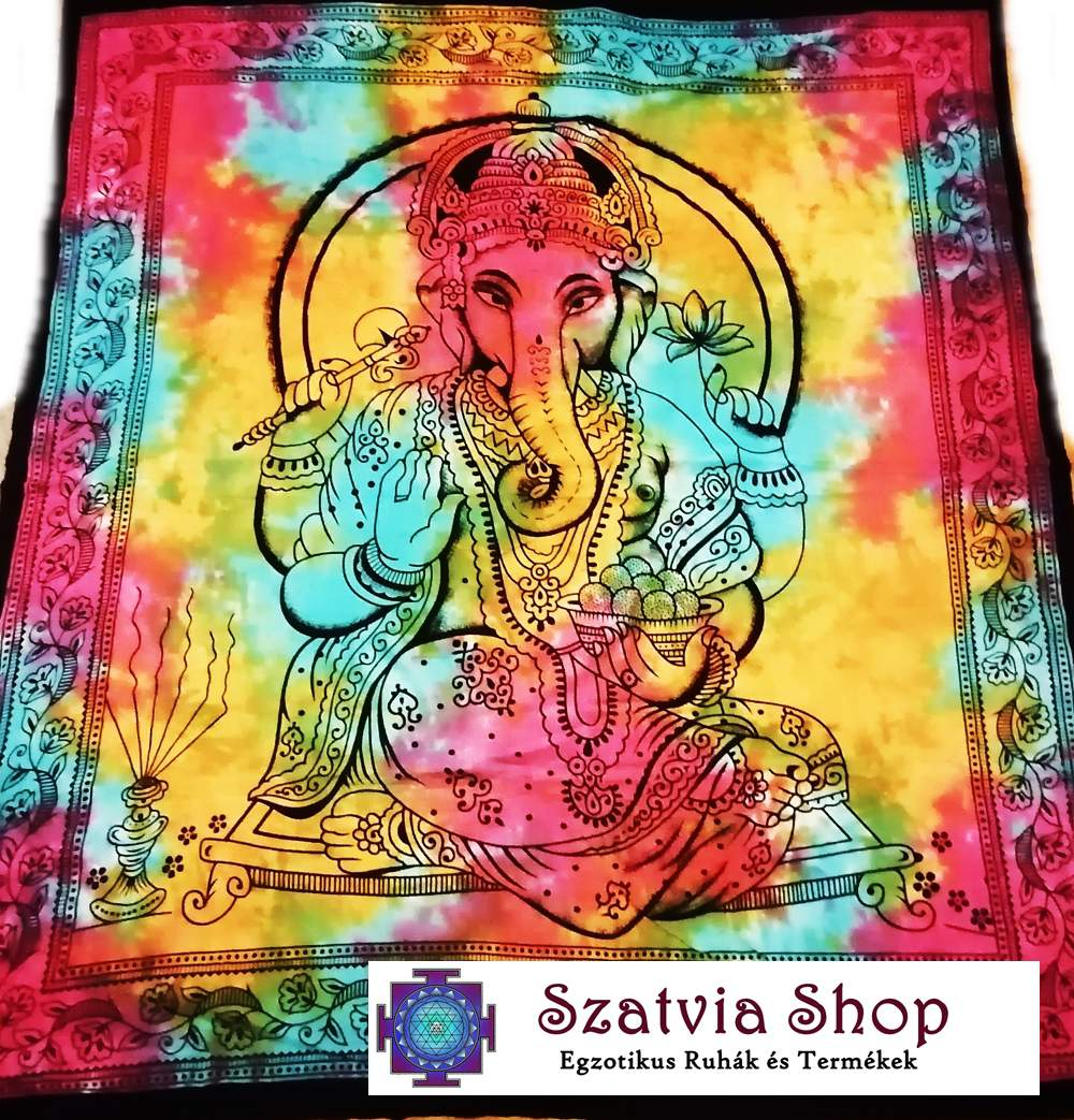 Indiai Ganésha mintás ágyterítő- batikolt (kék, sárga, pink)-dupla