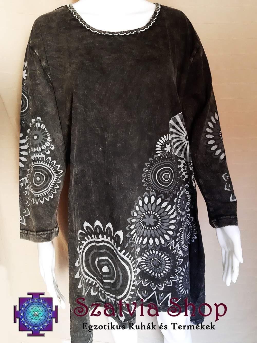 Nepáli tunika-ruha, szürke koptatott színben, mandala mintával